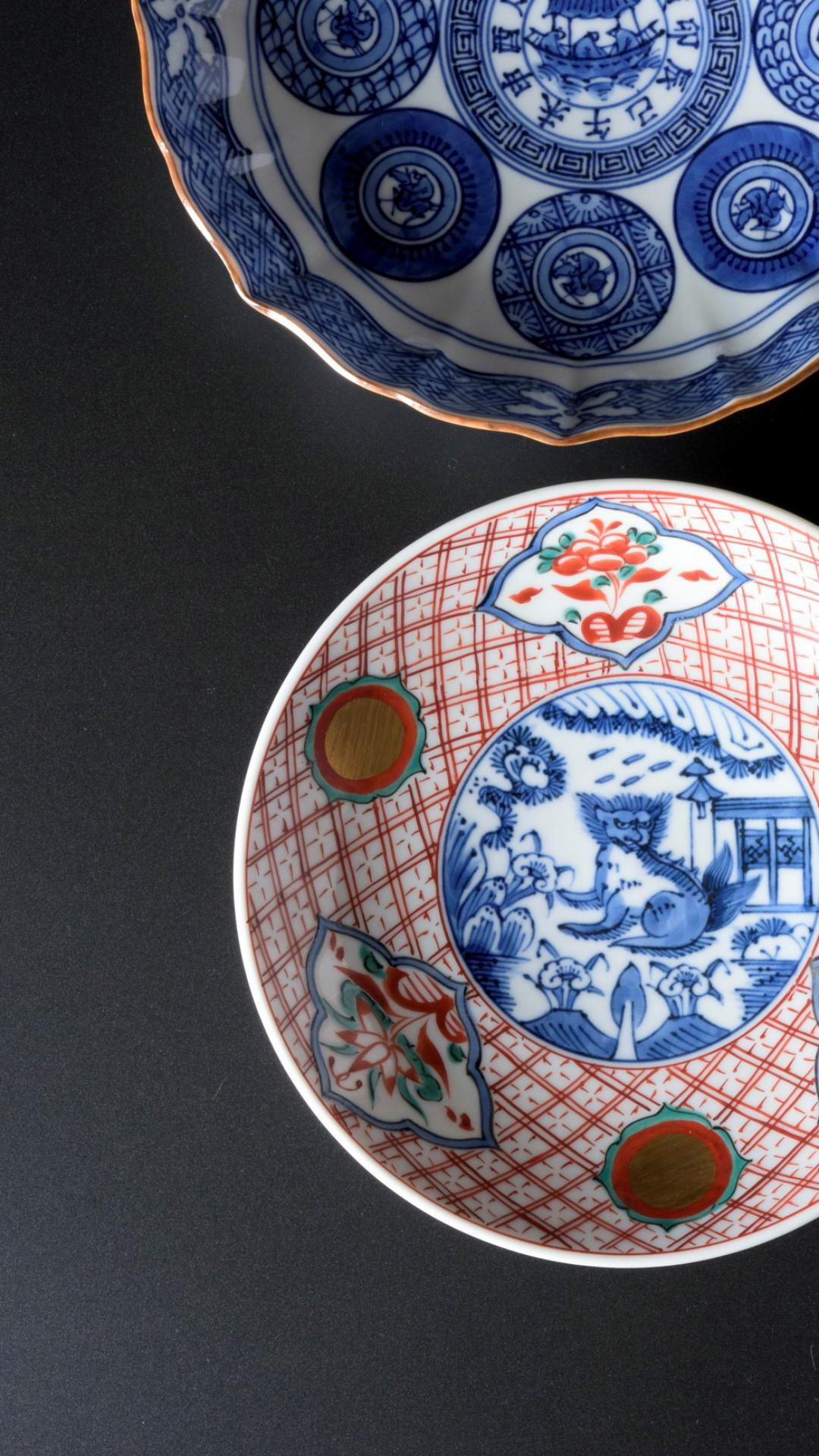 Picture of two kiyomizu ware plates