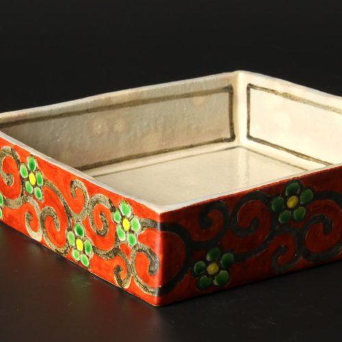 Image of Kiyomizu-ware_dish_box-type_Orange