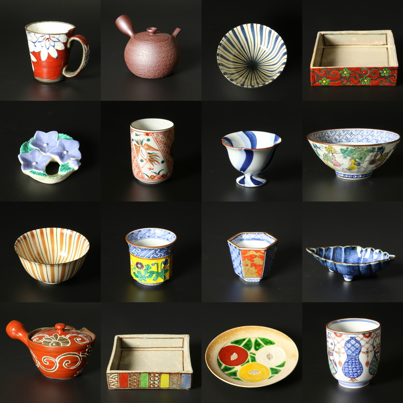 Collage image of different type of ceramics