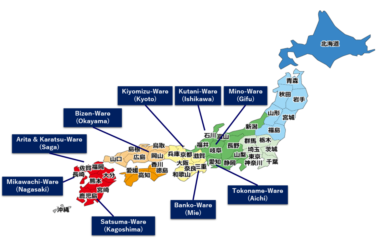 Illustration of Japan ceramic map