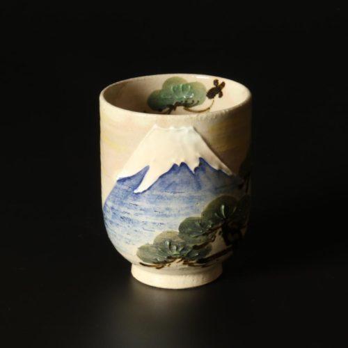 Image of Kiyomizu-ware_tea cup Mt Fuji Blue